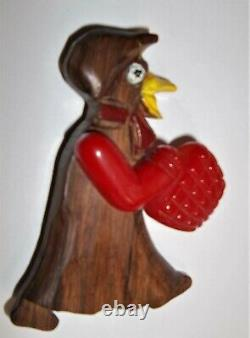 Vintage Wood Duck withSwinging Cherry Red Bakelite Movable Arm & basket Brooch Pin