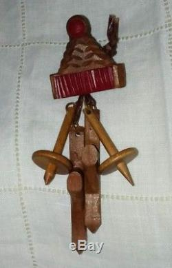 Vintage Wood and Bakelite Alpine SKI Hat and Skis PIN Brooch Hand Carved Skiing