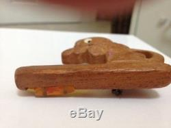 Vintage Wooden Cat Pin 1930's-1940's with bakelite fishbowl