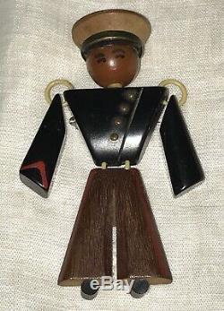 Vintage Wwii Era Carved Bakelite & Wood Soldier Marine Articulated Man Pin