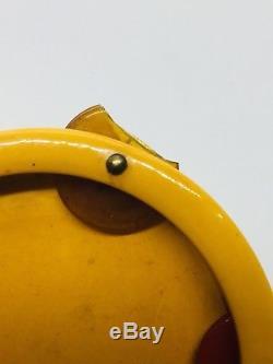 Vintage Yellow Bakelite Rare Tambourine Pin