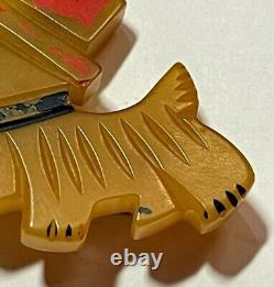 Vintage Yellow Bakelite (tested) Dog in a Red Hat Pin, Early 1900s