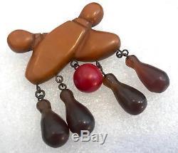 Vintage bakelite bowling dangling pin brooch