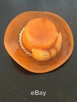 Vintage bakelite hat brooch sweet caramel swirl pin old plastics jewelry Rare