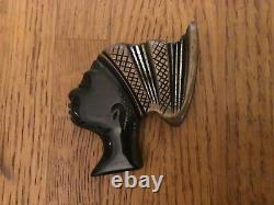 Vintage black gold Carved Bakelite African princess with turban Brooch/ Pin