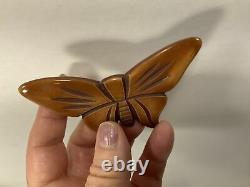 Vintage butterscotch bakelite butterfly figural pin brooch moth insect MCM