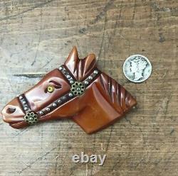 Vintage c. 1930's Art Deco Carved Bakelite Horse Head Pin Brooch 3 1/3