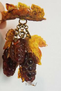 Vintage carved Bakelite Catalin Dangling Fruit Berries pin Tortoise Rootbeer