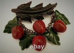 Vintage carved bakelite dangling strawberries and leaves fruit pin brooch