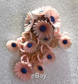 Vintage celluloid hand painted flower cluster pin brooch unsigned Miriam Haskell