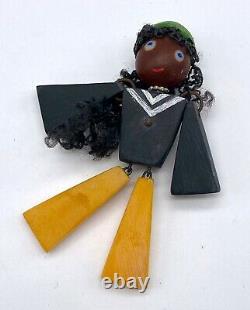 Vintage crib toy pin brooch bakelite style