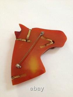 Vintage large Bakelite horse head pin brooch, tested with simichrome (D36)