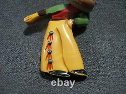 Vintage metal dots painted bakelite bowing mexican man wood sombrero pin brooch