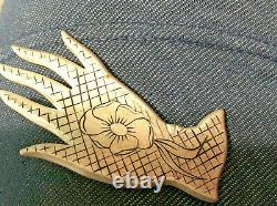 Vintage pin brooch Hand Shaped Glove French pattern flower silver black