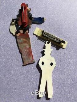 Vintage plastic patriotic UNCLE SAM buddies pin set HE'S MY UNCLE bakelite era