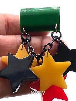 Vintage stunning patriotic bakelite stars dangling pin brooch