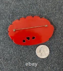 Vtg 1930 1940 RARE HUGE Large Bakelite Cherry Red Heavely Carved Brooch Pin
