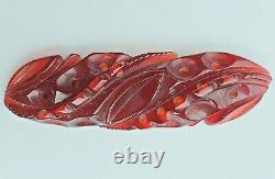 Vtg 1930s Dark CherryJuice Red Deep Carved & Pierced Prystal Bakelite Brooch Pin