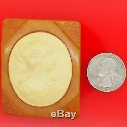 Vtg. 1940s Transparent Butterscotch Bakelite & Cream Celluloid Cameo Pin Brooch