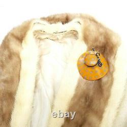 Vtg / Antique Butterscotch Bakelite Figural Wide Brim Amber Hat Pin Brooch 3