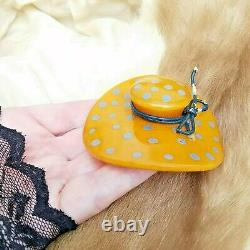Vtg / Antique Butterscotch Bakelite Figural Wide Brim Amber Hat Pin Brooch 3