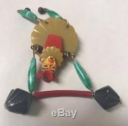 Vtg Art Deco Articulated Bakelite Circus Strong-man Brooch Pin Weight Lifter
