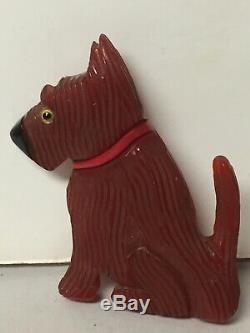 Vtg Art Deco Carved Bakelite Scottie Scotty Dog Brooch Pin Glass Eyes Brooch