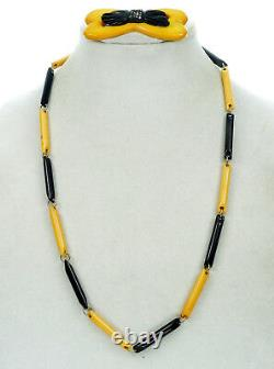 Vtg Art Deco Rare Carved Bakelite Bow Pin/brooch & Bar Links Necklace