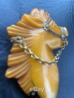Vtg Bakelite Butterscotch Carved Horse Head Brooch PIN 3- Book Piece