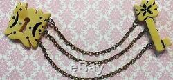 Vtg Bakelite Egg Custard Padlock & Key Coat Cape Sweater Chain Guard Pin-Estate