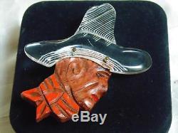 Vtg Bakelite Era Spanish Cowboy Carved Painted Wood Lucite Figural Pin Elzac