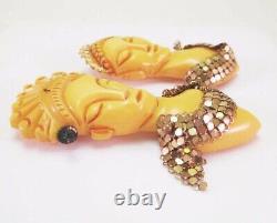 Vtg Bakelite Oriental Asian Royalty King Queen Figural 2 Pins Brooch Paint Mesh