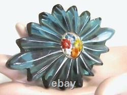 Vtg Bakelite Pin & Dress Clip Set Teal Blue Reverse Painted Floral Glass Centers