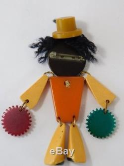 Vtg Black Americana Bakelite Catalin Articulated Tambourine Man Brooch Pin