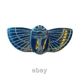 Vtg Carved BAKELITE Winged Scarab Brass Back Brooch Pin Circa 1950s MidCentury
