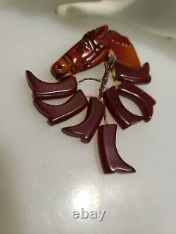 Vtg Hand Carved Bakelite Horse Head Pin Brooch with7 dangle cluster English boots