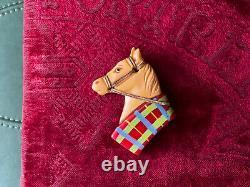 Vtg Martha Sleeper Butterscotch Bakelite Horse Pin Brooch Red Collar Glass Eye