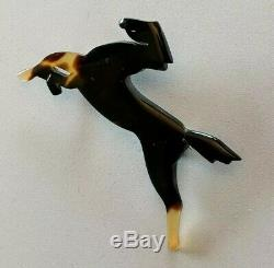 Vtg Modernist Art Deco Faux Tortoise Shell Running Horse Pin Brooch Pendant