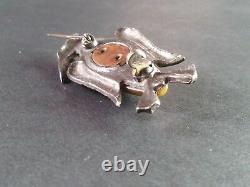 Vtg Pin Brooch Art Deco Bakelite Figural Bird Early Plastic Silver Metal Green