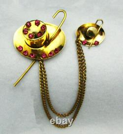 Vtg Pink Rhinestone Chatelaine Double Brooch Pin Top Hat & Cane Book Piece