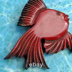 Vtg Rare 40s Cherry Red Bakelite Over Wood Fish Novelty Pin Brooch