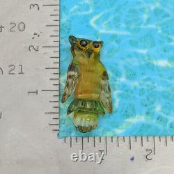 Vtg Rare 40s Clear Carved Painted Apple Juice Bakelite Owl Animal Pin Brooch