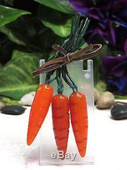 Vtg SUPER RARE Carved Bakelite Bunch of Carrots Figural Pin Brooch BOOK PIECE