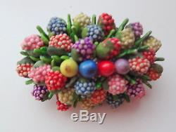 Vtg Signed Czechoslovakia Unusual Enamel Lucite Fruit Salad Berry Pin Brooh RARE