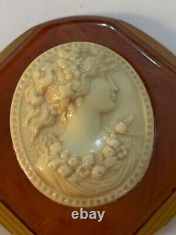 Vtg Victorian Revival Grecian Goddess Woman Bakelite Celluloid Cameo Brooch Pin