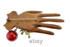 Vtg Whimsical RARE 1930s BAKELITE Wood Hand Playing Jax Ball Figural Pin Brooch