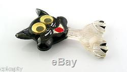 WHIMSICAL Vintage 1930s Googly Eye Goofy Looking Lucite CAT Brooch PIN