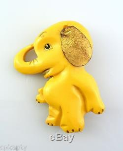 WHIMSICAL Vintage 1930s MARTHA SLEEPER Carved Bakelite BABY ELEPHANT Brooch PIN