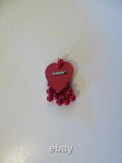 Wonderful VTG. BAKELITE RED HEART PIN withCHERRIES -un-tested