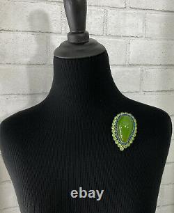 XL Vintage Green Bakelite & Rhinestone Pin Brooch 2 3/4 Goldtone